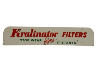 "KRALINATOR FILTERS ""STOP WEAR"" SST RACK TOP SIGN"