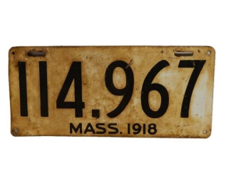 1918 MASSACHUSETTS U.S.A.  LICENSE PLATE- SINGLE