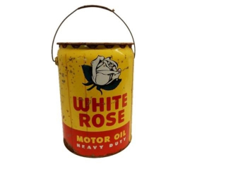 1956 WHITE ROSE MOTOR OIL 5 IMP. GAL. CAN