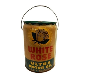1956 WHITE ROSE ULTRA  MOTOR OIL 5 IMP. GAL. CAN