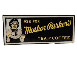 MOTHER PARKER'S TEA & COFFEE SST SELF FRAMED SIGN