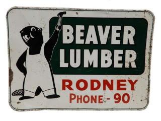 BEAVER LUMBER RODNEY, ONTARIO SST SIGN