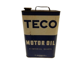 RARE TECO(EATON'S) MOTOR OIL 8 IMPERIAL QUARTS CAN