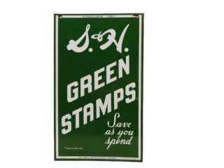 1956 S&H GREEN STAMPS D/S PAINTED METAL SIGN