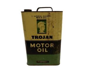 RARE TROJAN (EATON) MOTOR OIL 2 IMPERIAL GAL. CAN