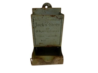 1940'S JACK'S STORETIN ADVERTISING MATCH DISPENSER