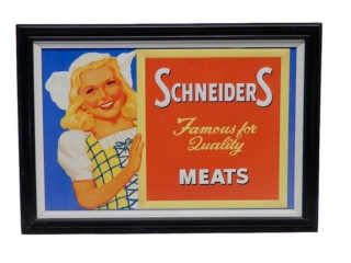 FRAMED SCHNEIDERS  FAMOUS MEATS S/S ALUM. SIGN