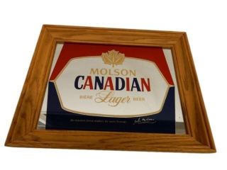 FRAMED MOLSON CANADIAN LAGER BEER ADV. MIRROR