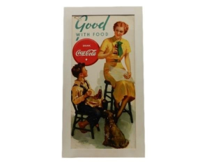 FRAMED COCA-COLA  GOOD WITH FOOD POSTER ADV,