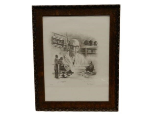 RARE JACK'S BARBER SHOP COCA-COLA  SKETCH PRINT