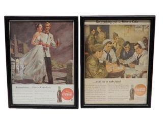 GROUPING OF 2 COCA-COLA FRAMED PAPER PRINTS