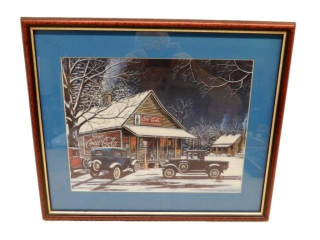 PROFESSIONALLY FRAMED CAR, STORE & GAS PRINT