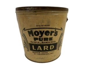 MOYER'S PURE KETTLE-RENDERED 20 LBS. LARD CAN