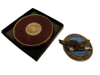 PRATT & WHITNEY BELT BUCKLE & DESK COASTER