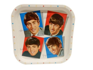 1964 BEATLES SIGNED PAINTED METAL TRAY