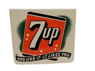 "1954 7UP ""YOU LIKE IT - IT LIKES YOU"" METAL FLANGE"