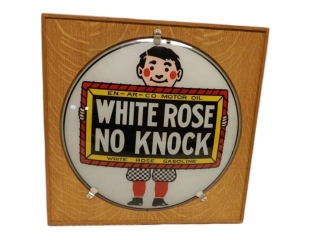 WHITE ROSE GLASS NO KNOCK GAS PUMP GLOBE LENSE