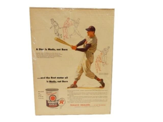 TEXACO HAVOLINE MOTOR OIL BASEBALL NEWSPRINT ADV.