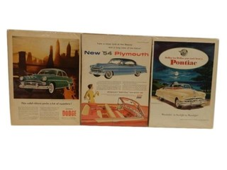 LOT OF 3 VINTAGE CAR PAPER ADVERTISING