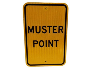 MUSTER POINT S/S ALUMINUM REFLECTIVE SIGN