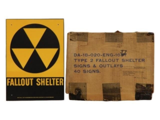1960'S FLALLOUT SHELTER S/S METAL SIGN/ BOX/ NOS