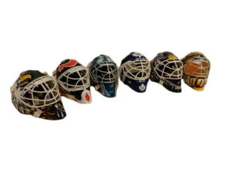 LOT OF 6 MINIATURE PLASTIC HOCKEY GOALIE MASKS
