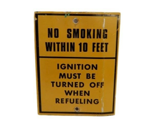 NO SMOKING WITHIN 10 FEET REFUELING S/S ALUM. SIGN