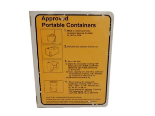 APPROVED PORTABLE CONTAINERS FUEL S/S ALUM. SIGN