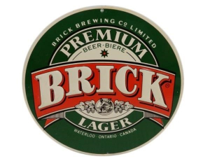 BRICK BREWING CO. BRICK LAGER BEER S/S ALUM. SIGN