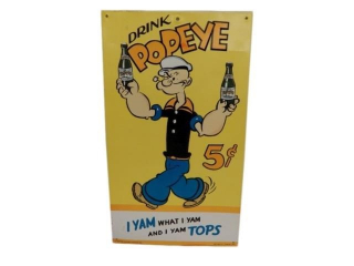 DRINK POPEYE 5 CENT EMBOSSED SST SIGN - REPRO