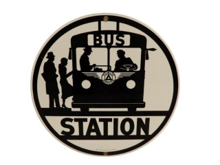 1987 BUS STATION PUBLIC SERVICE SSP SIGN