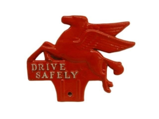 MOBIL PEGASUS DRIVE SAFELY LICENSE PLATE TOPPER