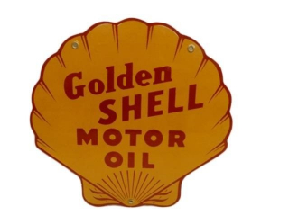 GOLDEN SHELL MOTOR OIL CLAMSHELL SSP PUMP PLATE