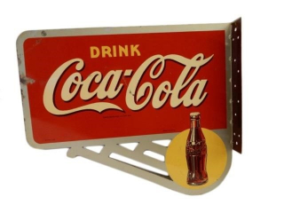 1946 DRINK COCA-COLA  PAINTED METAL FLANGE