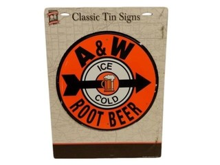 A&W ICE COLD ROOT BEER SST SIGN- REPRO / PACKAGING