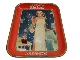 1935 MADGE EVANS  COCA-COLA METAL SERVING TRAY