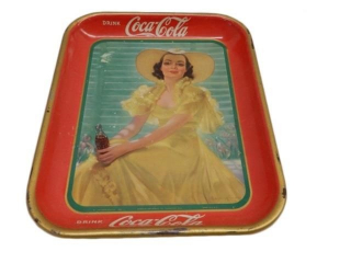 1938 DRINK COCA-COLA  METAL SERVING TRAY