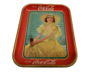 1938 DRINK COCA-COLA  TIN  SERVING TRAY