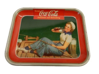 1940 DRINK COCA-COLA  TIN SERVING TRAY
