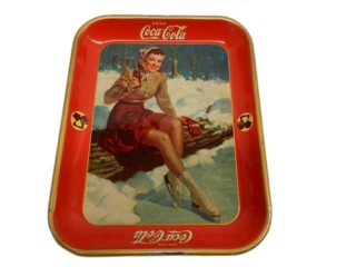 1941 DRINK COCA-COLA TIN SERVING TRAY