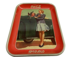 1942 DRINK COCA-COLA TIN SERVING TRAY