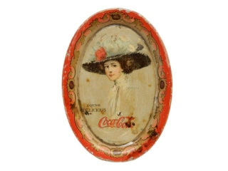 1910 COCA-COLA  GIRL TIN TIP TRAY