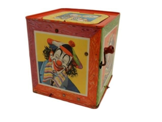 1953 CLOWN TIN LITHO JACK IN THE BOX