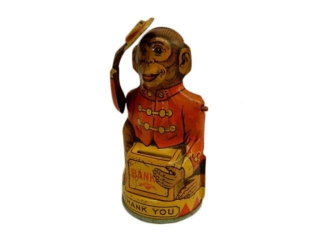 1950'S CHEIN TIN LITHO MONKEY BANK