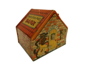 CHEIN 3 LITTLE PIGS TIN LITHO BANK / NO KEY