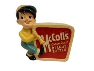 McCOLLS GOLDEN ROAD PEANUT BUTTER CERAMIC BANK