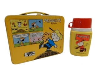 1965 PEANUTS BOY SCOUTS TIN LUNCH BOX / THERMOS