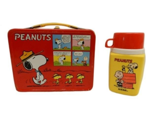 1965 PEANUTS  BASEBALL LUNCH BOX / THERMOS
