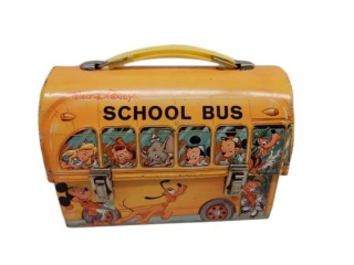 1961 WALT DISNEY SCHOOL BUS LUNCH BOX- NO THERMOS
