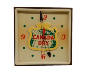 CANADA DRY EMBOSSED ELECTRIC CLOCK